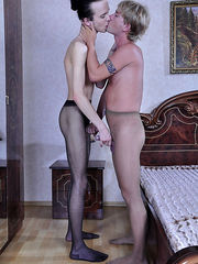 Kissing gay lovers get rid of their jeans for scorching pantyhose screwing
